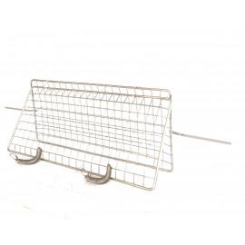 Kit spiedo esagonale, coppia fermacarne + griglia spiedo acciaio cromo