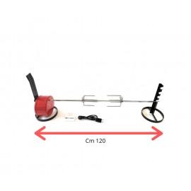 Girarrosto Doppia Alimentazione 4,5/220 Volt Portata 10 kg spiedo piatto in acciaio INOX cm 95 fermacarne INOX